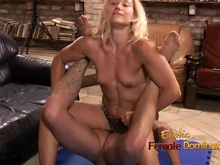 Blonde jerks and pulls on cock
