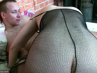 Hot Horny spectacled granny and Young guy fuck OLDNANNY