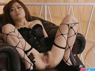 Pretty babe in fishnet pussy fondled and squirting