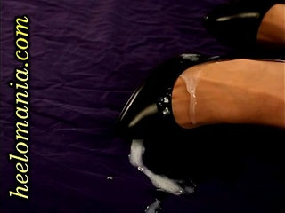 Black guy gives cumshot on sexy high heel shoes and pantyhosed feet