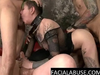 Extreme deep throat 4some for tatted slut